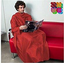 Snug Decke Rot mit Ärmeln für Erwachsene in ro