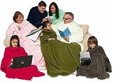 Snug Rug Cosy Ärmeldecke Fleece Decke Kuscheldecke Tagesdecke Schlafdecke mit Ärmeln in braun Schoko-braun