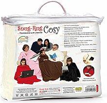 Snug Rug Cosy, Bequemer Teppich gemütlich, Fleece-Decke mit Ärmeln und einer Handytasche - Creme Cream