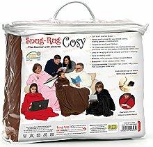Snug Rug Cosy Gemütlicher Teppich gemütlich Fleece-Decke mit Ärmeln und einer handlichen Tasche Tasche, schokolade braun