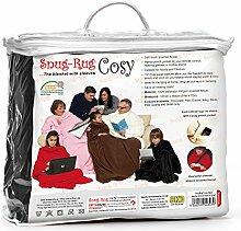 Snug Rug Cosy, Gemütlicher Teppich gemütlich, Fleece-Decke mit Ärmeln und praktischer Tasche - SCHWARZ Black