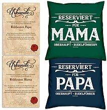 SO-GmbH Eltern 2 Kissen: Reserviert für Papa/Mama