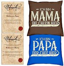 SO-GmbH Set Eltern : 2 Kissen & 2 Urkunden für