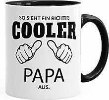 So sieht ein richtig ein richtig cooler Papa aus Tasse Familie MoonWorks® schwarz unisize