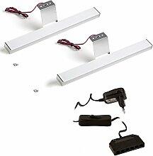 SO-TECH® 2er Set LED Aufbauleuchte Möbelleuchte Sky pro mit 12W Trafo | 12V / 3,2W | kaltweiß - 6000K | 304 x 30 x 15 mm