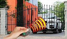 SO11 Einfahrtstor Hoftor Doppelflügeltor Gartentor Bellevue mit elektr. Antrieb 350 x 150 cm Komplett-Set inklusive 2 Torelementen, 2 Natursteinoptik-Pfosten und Beschlägen. Gesamtbreite ist ca. 433 cm