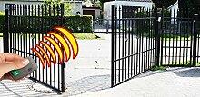 SO40 Einfahrtstor Hoftor Doppelflügeltor Gartentor Sparta 400 x 150 cm, mit Pforte 94 cm, elektr. Antrieb und Riegelset, Komplett-Set inklusive 2 Torflügeln, 1 Pforte, 3 Stahlpfosten, Beschlägen, 1 elektr. Antrieb mit 2 Fernbedienungen und 1 Riegelset. Gesamtbreite ist ca.528 cm