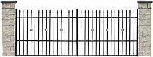 SO41 Einfahrtstor Hoftor Doppelflügeltor Gartentor Sparta 300 x 150 cm Komplett-Set inklusive 2 Torelementen, 2 Natursteinoptik-Pfosten und Beschlägen. Gesamtbreite ist ca. 383 cm