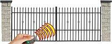 SO44 Einfahrtstor Hoftor Doppelflügeltor Gartentor Sparta mit elektr. Antrieb und Riegelset 350 x 150 cm Komplett-Set inklusive 2 Torelementen, 2 Natursteinoptik-Pfosten und Beschlägen. Gesamtbreite ist ca. 433 cm