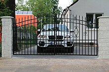 SO57 Einfahrtstor Hoftor Doppelflügeltor Gartentor Maria 400 x 175 cm Komplett-Set inklusive 2 Torelementen, 2 Natursteinoptik-Pfosten und Beschlägen. Gesamtbreite ist ca. 483 cm
