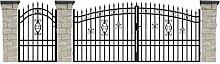 SO61 Einfahrtstor Hoftor Doppelflügeltor Gartentor Maria 400 x 175 cm, mit Pforte 109 cm, Komplett-Set inklusive 2 Torflügeln, 1 Pforte, 3 Natursteinoptik-Pfosten und Beschlägen. Gesamtbreite ist ca.636 cm