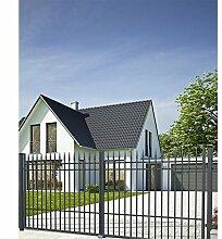 SO73 Einfahrtstor Hoftor Doppelflügeltor Gartentor Porto 350 x 160 cm Komplett-Set inklusive 2 Torelementen, 2 Stahlpfosten und Beschlägen. Gesamtbreite ist ca. 377 cm