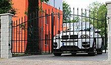 SO9 Einfahrtstor Hoftor Doppelflügeltor Gartentor Bellevue 400 x 150 cm Komplett-Set inklusive 2 Torelementen, 2 Natursteinoptik-Pfosten und Beschlägen. Gesamtbreite ist ca. 483 cm