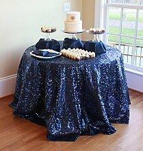soardream 228,6cm rund Marineblau Pailletten Tischdecke für Hochzeit/Event/Party/Banke