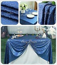 soardream 228,6x 228,6cm glitzernden Pailletten Tischdecke für Hochzeit, navy, 229 x 229 cm