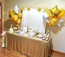 SoarDream Tischdecke, mattgold, mit Pailletten besetzt, glamourös, 127x 127cm, für Party, Hochzeit, Even
