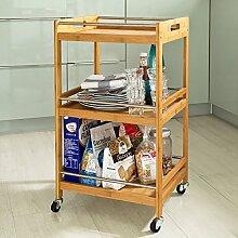 SoBuy® Badrollwagen, Servierwagen, Küchenwagen, Rollwagen aus Bambus FKW15-N