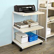 SoBuy® Drucker-Rolltisch mit 3 Ablagefächern,Druckerständer, Beistelltisch, Küchenwagen, Rollwagen, Beistellwagen, FRG81-W