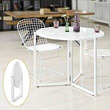 SoBuy® FBT45-W Design Küchentisch Tisch Esstisch Klapptisch klappbar weiß H: 76cm, Φ 90cm