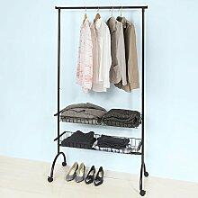 SoBuy® FRG243-SCH Garderobenwagen Kleiderständer mit Kleiderstange und 2 Körben, Kleiderständer,Hängeregal,schwarz, BHT ca: 100x180x41cm