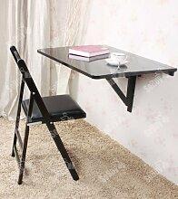SoBuy® Küchentisch, Holztisch, Wandklapptisch, Esstisch, Schreibtisch, Tisch, 2x klappbar, 80x60cm FWT02-SCH (Schwarz)