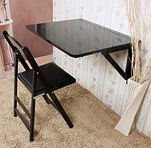 SoBuy Küchentisch, Wandklapptisch, Holztisch, Esstisch, Wandtisch, 75x60cm 2 Stützen FWT05-SCH