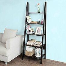 SoBuy® Leiterregal Badregal Standregal Bücherregal mit fünf Böden in schwarz FRG61-SCH