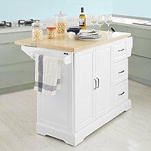 SoBuy® Luxus-Küchenwagen, Küchenschrank, Sideboard, mit erweiterbarer Arbeitsfläche,129x46x91cm, FKW41-WN