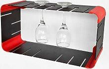 SoBuy® Modernes Hängesteckregal,Cuberegal, Würfel Regal, Wandregal, FRG24 (schwarz+rot)