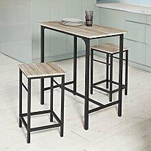 SoBuy® OGT10-N Bartisch Set 3-teilig Stehtisch Bistrotisch mit 2 Stühlen Sitzgruppe
