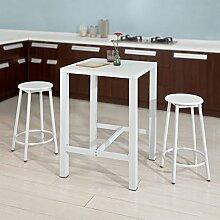 SoBuy OGT12-W Bartisch Set 3-teilig Stehtisch Bistrotisch mit 2 Stühlen Sitzgruppe weiß