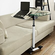 SoBuy® Pflegetisch Betttisch Laptoptisch Beistelltisch Tischplatte aus Glas FBT07N5