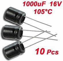 SODIAL (R) 10 x 1000uF 16V 105¡ãC Radialer Elektrolyt Kondensator 10 x 13 mm