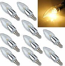 SODIAL(R) 10x E14 6 5630 SMD LED Kerze Birne Energiesparlampe Lampe Strahler 3W Warmweiss