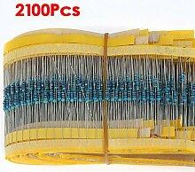 SODIAL (R) 2100pcs 21 Werte (1 Ohm ~ 1M Ohm) 1/4 W 0,25 W 1% Metallschichtwiderstand Sortiment Ki