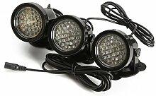 SODIAL(R) 3PCS Weiss 36 LED Unterwasser Aquarium Teich Strahler Lampe Beleuchtung Lichter Wasserdicht Teichbeleuchtung Aussenstrahler Spotlight fuer Garten Schwimmbad