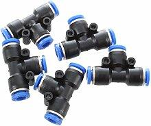 SODIAL(R)5 Stueck 6mm T-foermig Plastik Pneumatische Schnellverbinder - Blau & Schwarz
