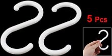 SODIAL (R) 5 Stueck weisse Kunststoff-S-Form-Kleiderbuegel Haken fuer zu Hause Kleidung Koerbe
