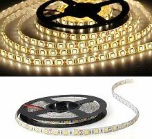 SODIAL(R) 5M 5050SMD 300 LED Leiste Strip Band Streif warmweiss mit FB wasserdicht Deko