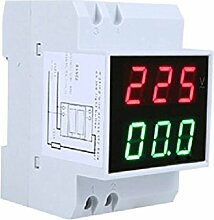 SODIAL(R) Digital Din-Rail LED Spannungsanzeige Voltage Ammeter Current Meter Voltmeter AC80-300V 0.2-99.9A Dual Display