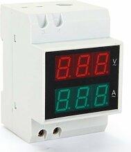 SODIAL(R) Digital Voltmeter Spannungsmesser Digitalvoltmeter LCD Display Strom Messgerae