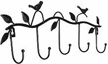 SODIAL(R) Eisen-Voegel Blaetter Hut / Handtuch / Mantel Wanddekor Kleiderbuegel Gestelle mit 5 Haken schwarz