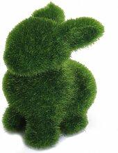 SODIAL(R) Gruenland Handarbeit Tier Kaninchen w / kuenstliche Rasen Hau