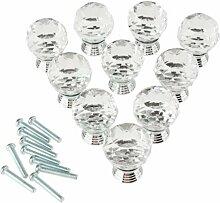 SODIAL (R) Packung mit 10 30mm Kristallglas Klar Kabinett Knob-Fach-Zug Handgriff-Kueche Tuerenschrank Hardware