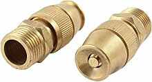 SODIAL(R) Rasen 20mm Aussengewinde Wasser Spray Duese Schlauchanschluss Goldton 2pcs