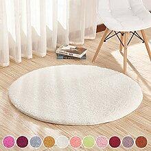 SODKK Teppich Modern Weiß 110cm Rund Wohnzimmer