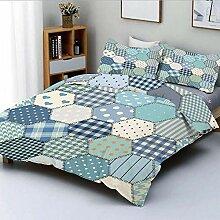 Soefipok Bettbezug-Set, blau getönten Patchwork