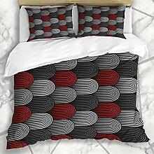 Soefipok Bettbezug-Sets Rot Geometrisches Muster