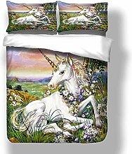 Soefipok Einhorn Bettwäsche-Set für Mädchen,