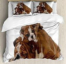 Soefipok Englisch Bulldog 3 PCS Bettbezug Set,